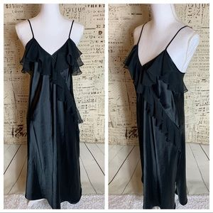 Vintage Linda Bis Black Ruffle Nightgown Gown P/S